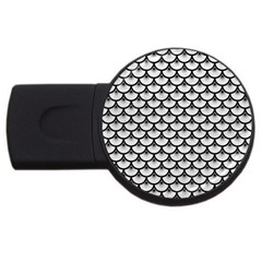 Scales3 Black Marble & White Leather Usb Flash Drive Round (2 Gb)
