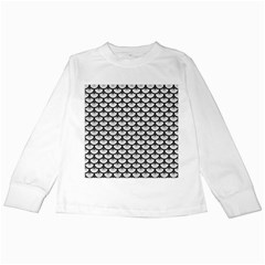 Scales3 Black Marble & White Leather Kids Long Sleeve T Shirts