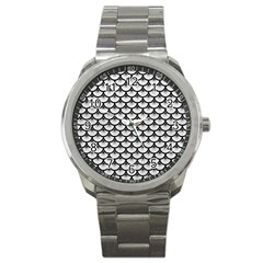Scales3 Black Marble & White Leather Sport Metal Watch