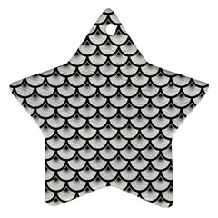 Scales3 Black Marble & White Leather Star Ornament (two Sides)