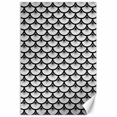 Scales3 Black Marble & White Leather Canvas 24  X 36