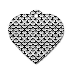 Scales3 Black Marble & White Leather Dog Tag Heart (two Sides)