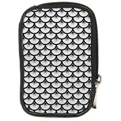 Scales3 Black Marble & White Leather Compact Camera Cases