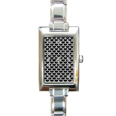 Scales3 Black Marble & White Leather (r) Rectangle Italian Charm Watch
