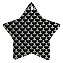 Scales3 Black Marble & White Leather (r) Ornament (star)