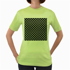 Scales3 Black Marble & White Leather (r) Women s Green T Shirt