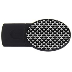 Scales3 Black Marble & White Leather (r) Usb Flash Drive Oval (2 Gb)
