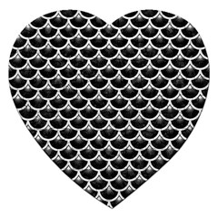 Scales3 Black Marble & White Leather (r) Jigsaw Puzzle (heart)