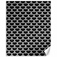 Scales3 Black Marble & White Leather (r) Canvas 11  X 14