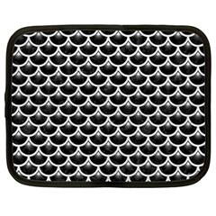 Scales3 Black Marble & White Leather (r) Netbook Case (large)
