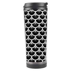 Scales3 Black Marble & White Leather (r) Travel Tumbler