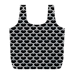 Scales3 Black Marble & White Leather (r) Full Print Recycle Bags (l)