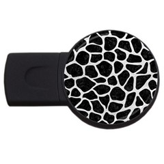 Skin1 Black Marble & White Leather Usb Flash Drive Round (2 Gb)