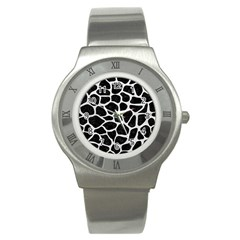 Skin1 Black Marble & White Leather Stainless Steel Watch