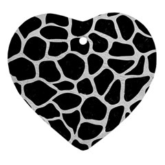 Skin1 Black Marble & White Leather Heart Ornament (two Sides)