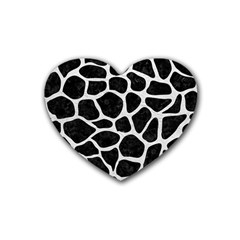 Skin1 Black Marble & White Leather Rubber Coaster (heart)