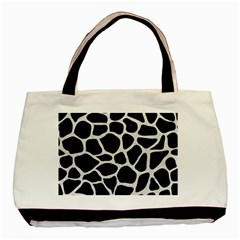 Skin1 Black Marble & White Leather Basic Tote Bag (two Sides)