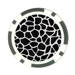 Skin1 Black Marble & White Leather Poker Chip Card Guard