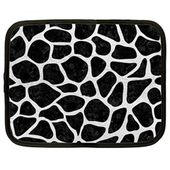 Skin1 Black Marble & White Leather Netbook Case (large)