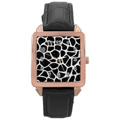 Skin1 Black Marble & White Leather Rose Gold Leather Watch
