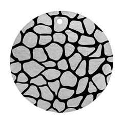 Skin1 Black Marble & White Leather (r) Ornament (round)