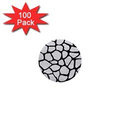 Skin1 Black Marble & White Leather (r) 1  Mini Buttons (100 Pack)