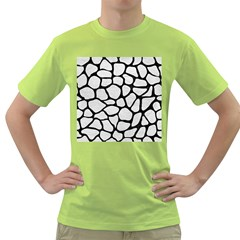 Skin1 Black Marble & White Leather (r) Green T Shirt