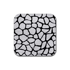 Skin1 Black Marble & White Leather (r) Rubber Coaster (square)