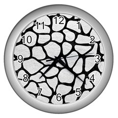 Skin1 Black Marble & White Leather (r) Wall Clocks (silver)