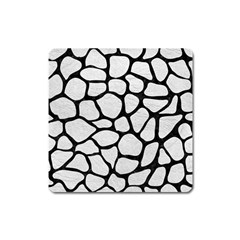 Skin1 Black Marble & White Leather (r) Square Magnet