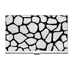 Skin1 Black Marble & White Leather (r) Business Card Holders