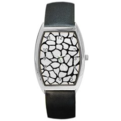 Skin1 Black Marble & White Leather (r) Barrel Style Metal Watch
