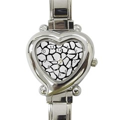 Skin1 Black Marble & White Leather (r) Heart Italian Charm Watch