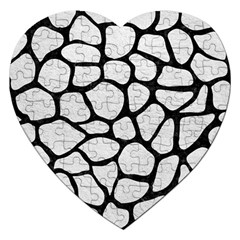 Skin1 Black Marble & White Leather (r) Jigsaw Puzzle (heart)