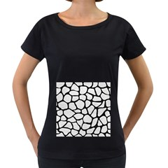 Skin1 Black Marble & White Leather (r) Women s Loose Fit T Shirt (black)