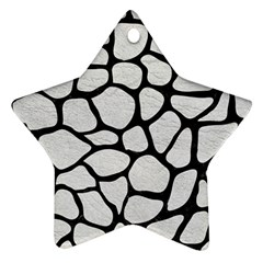 Skin1 Black Marble & White Leather (r) Star Ornament (two Sides)