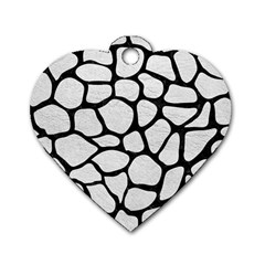 Skin1 Black Marble & White Leather (r) Dog Tag Heart (two Sides)