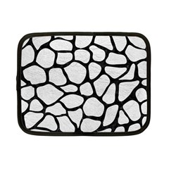 Skin1 Black Marble & White Leather (r) Netbook Case (small)