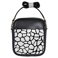 Skin1 Black Marble & White Leather (r) Girls Sling Bags