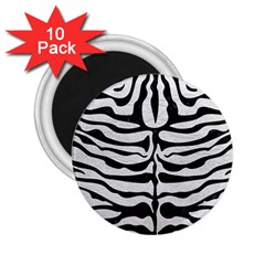 Skin2 Black Marble & White Leather 2 25  Magnets (10 Pack)