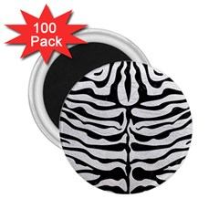 Skin2 Black Marble & White Leather 2 25  Magnets (100 Pack)