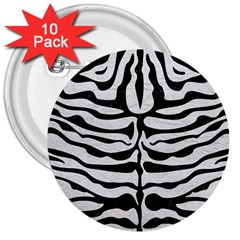 Skin2 Black Marble & White Leather 3  Buttons (10 Pack)