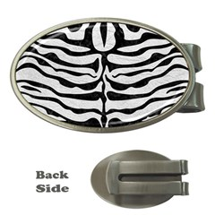 Skin2 Black Marble & White Leather Money Clips (oval)