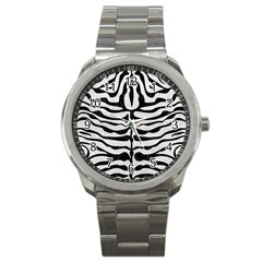 Skin2 Black Marble & White Leather Sport Metal Watch