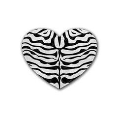 Skin2 Black Marble & White Leather Rubber Coaster (heart)