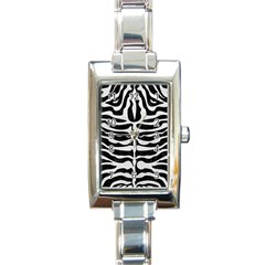 Skin2 Black Marble & White Leather (r) Rectangle Italian Charm Watch