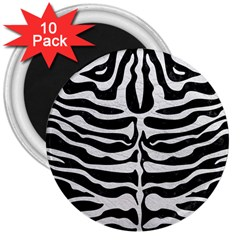 Skin2 Black Marble & White Leather (r) 3  Magnets (10 Pack)