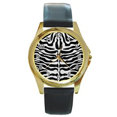Skin2 Black Marble & White Leather (r) Round Gold Metal Watch