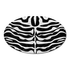Skin2 Black Marble & White Leather (r) Oval Magnet