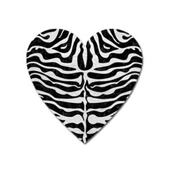 Skin2 Black Marble & White Leather (r) Heart Magnet